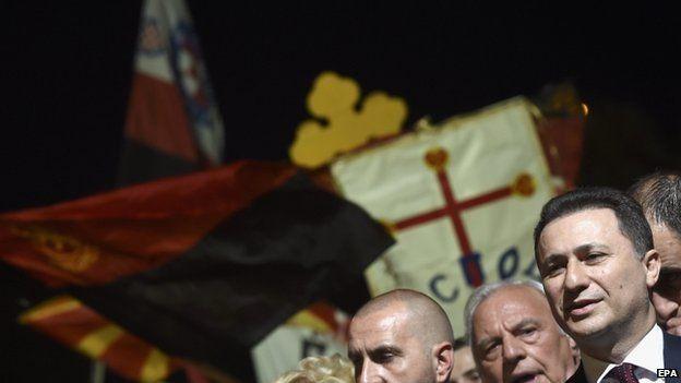 Prime Minister Nikola Gruevski attends Monday's rally in Skopje