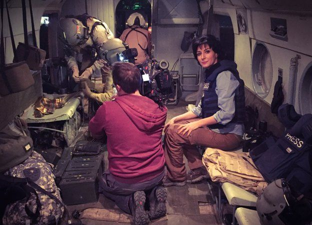 Nafiseh Kohnavard sits in helicopter 19 May 2015
