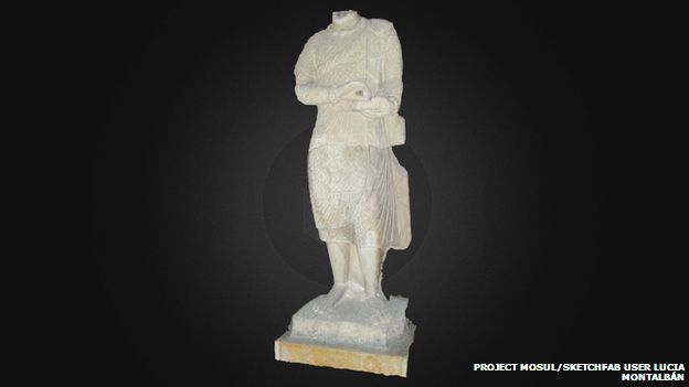 reconstructed priest statue