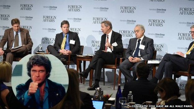 Image of all white men on a panel