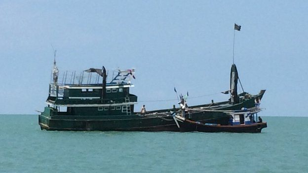 Trawler with mostly Rohingya migrants stranded at sea