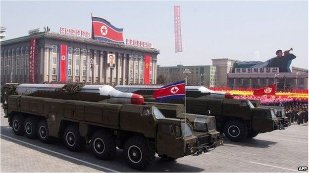 A photo from April 2012 shows missiles at a parade in Pyongyang