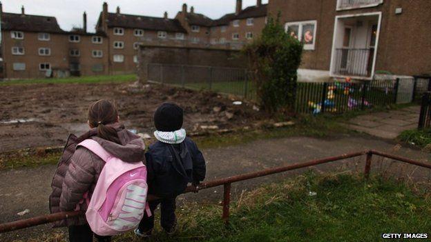 Children sat in council estate