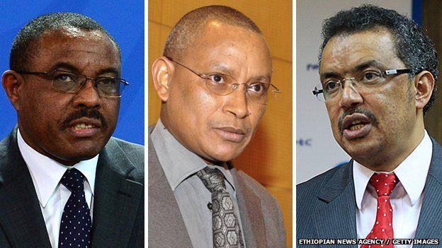 Hailemariam Desalegn on left, Debretsion Gebremikael (centre) and Tewodros Adhanom or right