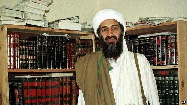 What was on Osama Bin Laden's bookshelf?