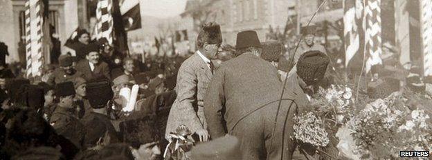 Turkey's first President Mustafa Kemal Ataturk (centre) is seen in Izmir, Turkey, after the modern Turkish Republic was founded in 1923