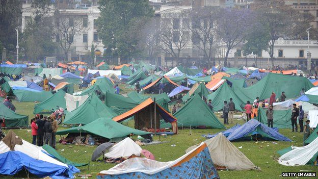Temporary shelters for people in Kathmandu