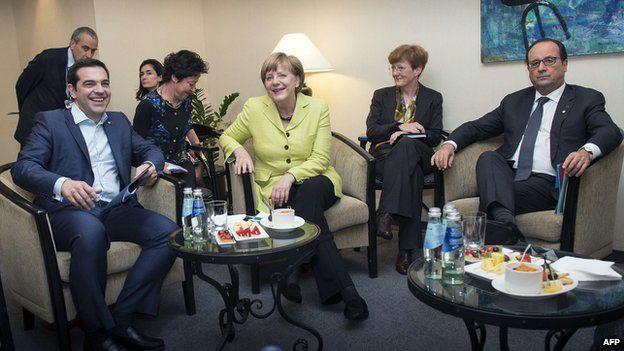 German Chancellor Angela Merkel, French President Francois Hollande and Greek prime minister Alexis Tspiras (left) meeting in Riga
