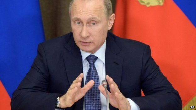 Russian President Vladimir Putin speaks at a meeting with representatives of top military brass and defence industries at the Bocharov Ruchei residence in the Black Sea resort of Sochi, Russia, Tuesday, May 12