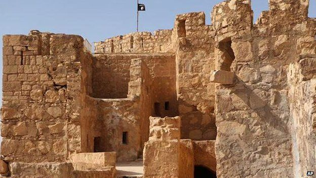 IS flag flies above Palmyra's ancient castle