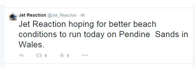 Jet Reaction Tweet
