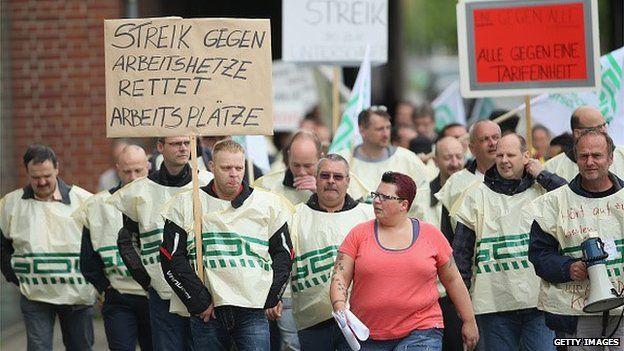 German workers on strike