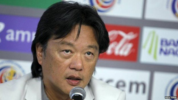 Eduardo Li, President of Costa Rica's Football Federation, speaks to the media in San Antonio de Belen in Costa Rica on 17 May, 2011.