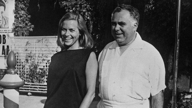 Honor Blackman, who played Pussy Galore, with Goldfinger co-producer Harry Saltzman at the Venice Film Festival in 1965