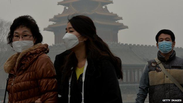 Chinese wearing face masks