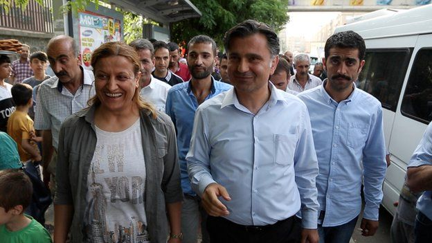 HDP candidate Ziya Pir on campaign walkabout