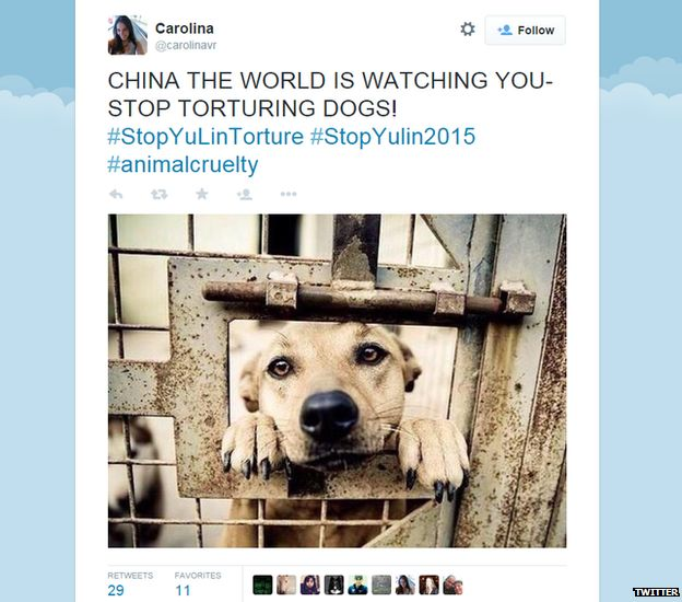 Tweet against the Yulin Dog Meat Festival