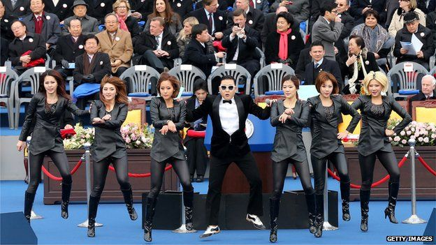 Psy performing Gangnam Style at the inauguration of South Korea's newly elected president in 2013