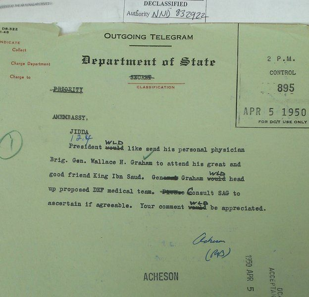 Archives copy of Acheson telegram about Graham