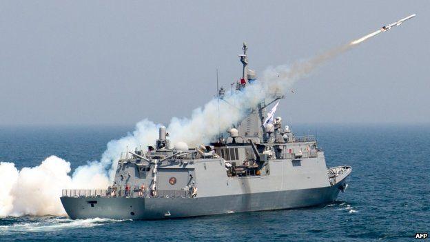 A South Korean navy vessel firing an anti-ship missile (19 May 2015)