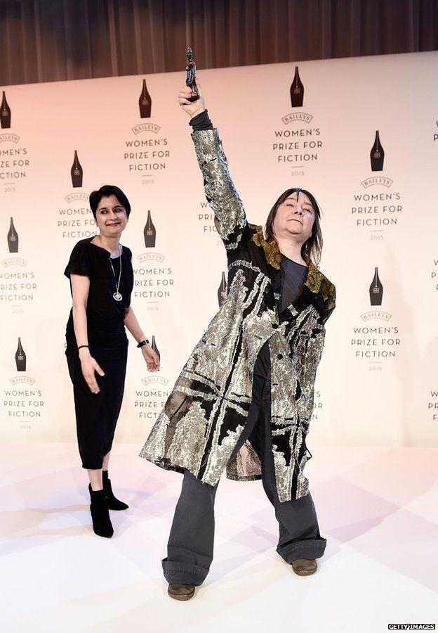 Ali Smith celebrates her win with Baileys Prize chair of judges Shami Chakrabarti