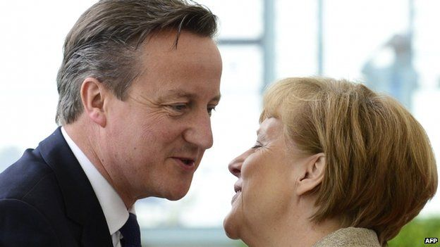 Angela Merkel and David Cameron on 29 May 2015, at the Chancellery in Berlin