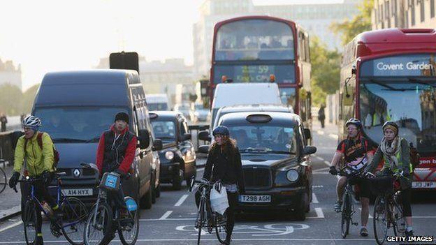 Cyclists near Waterloo Station
