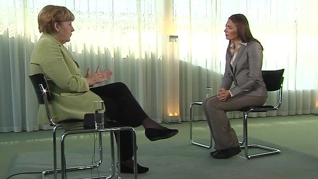 Chancellor Merkel speaks to BBC's Katya Adler