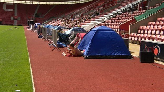 Tents at longest match at St Mary's Stadium