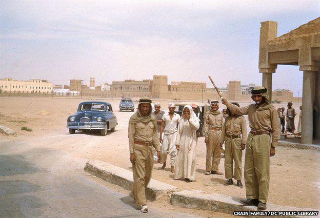 Cars pull up in Saudi Arabia