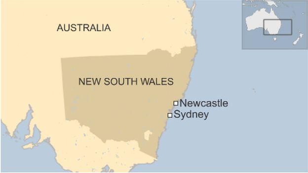 Map of Newcastle in Australia