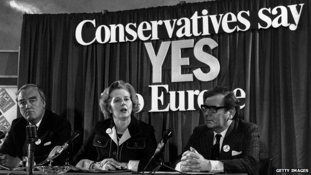 Margaret Thatcher, with Willie Whitelaw and Peter Kirk at a referendum conference on Europe