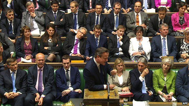 David Cameron speaking in the House of Commons, with Conservative MPs sitting behind him