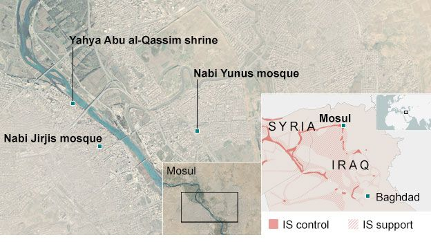 Map of the location of video showing mosques and shrines being destroyed