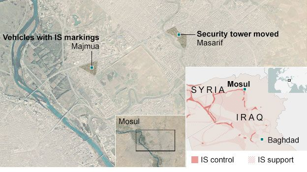 Map of the location of video showing vehicles with IS markings and security towers being moved