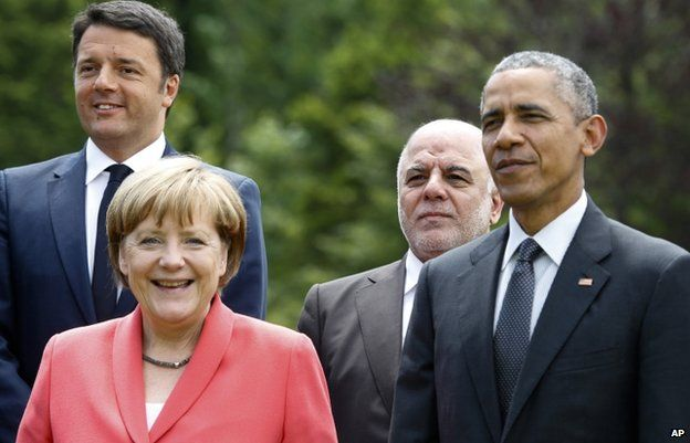 German Chancellor Angela Merkel with Italian Prime Minister Matteo Renzi, Iraqi Prime Minister Haider al-Abadi and President Barack Obama