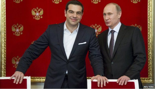 Alexis Tsipras, Greek Prime Minister, with President Putin in Moscow in April