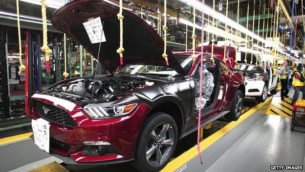 Ford mustang on an assembly line