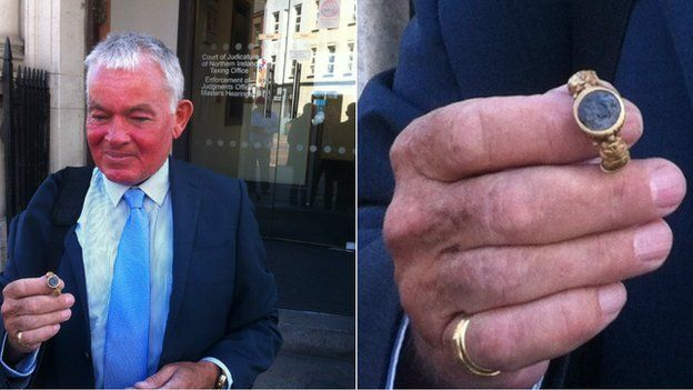 Brian Murray with the Roman ring he found