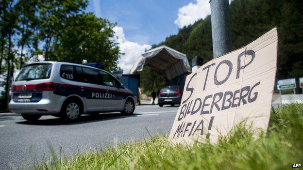 A protest sign near this year's Bilderberg venue