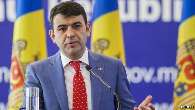 Prime Minister Chiril Gaburici giving resignation speech