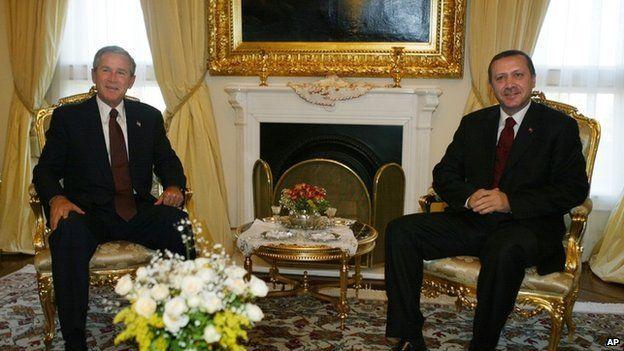 US President George W Bush meets Turkish Prime Minister Recep Tayyip Erdogan in Turkey in 2004