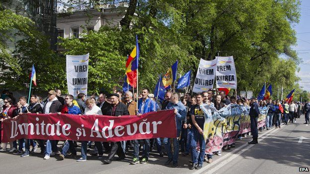Protest over banking scandal, Chisinau, 3 May 15