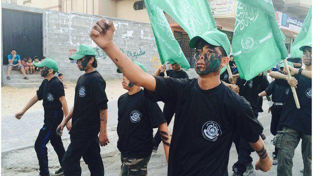 Children march in Hamas parade in Gaza (June 2015)