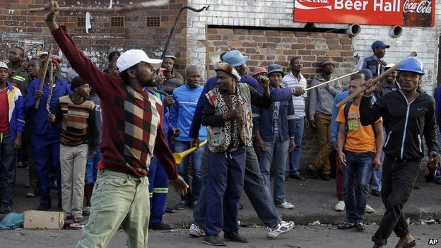 Anti-immigrant protesters in South Africa