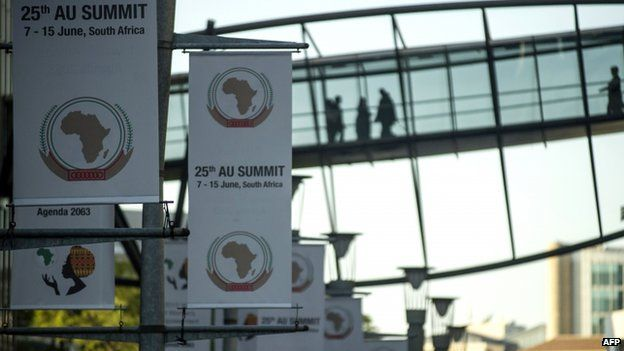 Banners in South Africa ahead of the AU summit