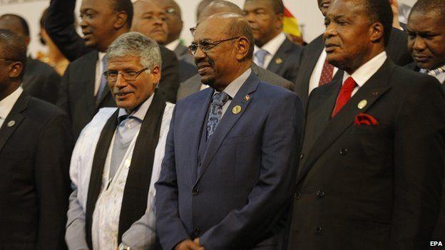 Sudan's President Omar al-Bashir in group photograph ahead of African Union summit in Johannesburg. 14 June 2015