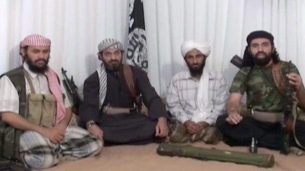 From left: Hurayrah Qasim al-Raymi, Said al-Shihri, Nasser al-Wuhayshi and Mohammed al-Awfi (January 2009)
