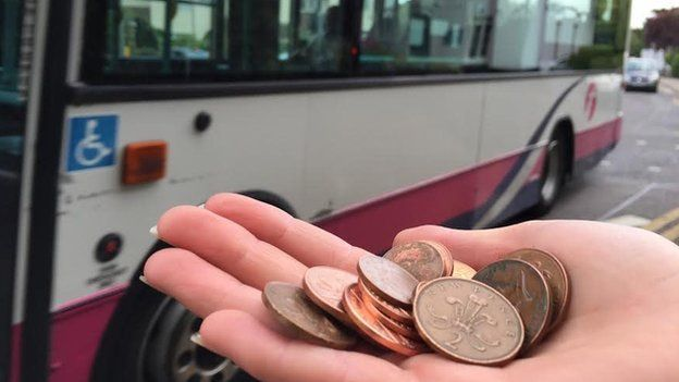 Hand holding copper coins