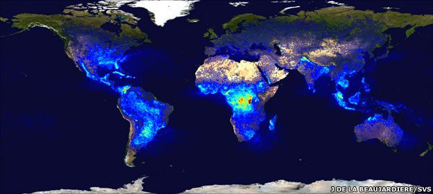 Global map of lightning frequency (Nasa)
